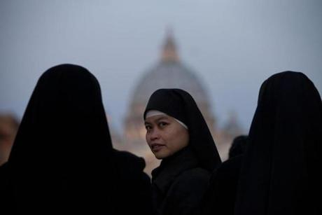 Nuns attended Pope Benedict XVI's last general audience in St. Peter's Square.