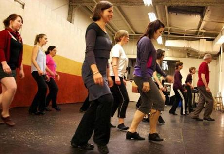 Irish dancer Michael Tubridy (in red shirt) leads a guest master class in old style Irish dance at Boston Percussive Dance.