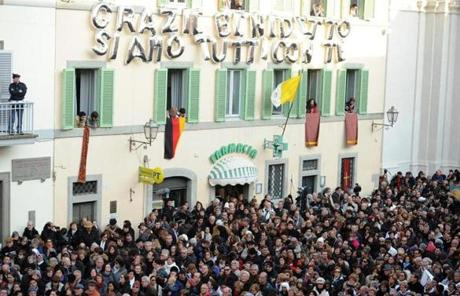 A message on the side of a building at Castel Gandolfo thanked Pope Benedict XVI.