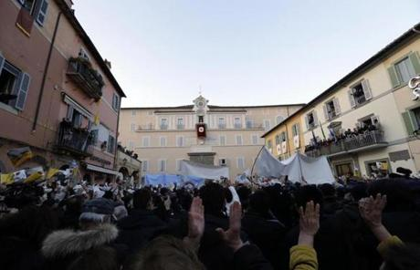 Crowds gathered to see Benedict at his summer residence, Castel Gandolfo.