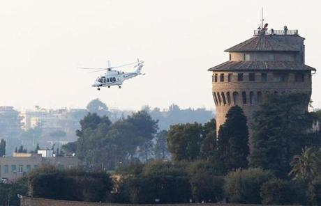 A helicopter carrying Pope Benedict XVI lifted off from Vatican City.