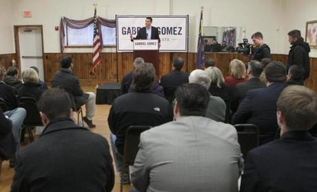 Until Thursday, Gabriel Gomez had not made any public appearances. Among the Cohasset Republican's stops Thursday, was the American Legion in Quincy, where he began his remarks by introducing himself in Spanish, his first language.