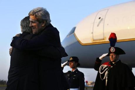 Kerry hugged Thorne upon arrival at Ciampino Airport in Rome Wednesday.
