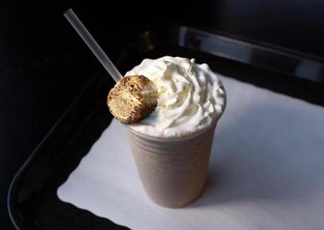 A s'mores shake at the Burger Dive in Somerville.