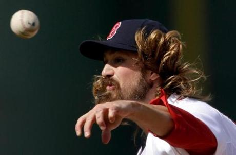 Boston Red Sox pitcher Andrew Miller throws in the fifth inning of an exhibition spring training baseball game against the New York Yankees, Sunday, March 3, 2013, in Fort Myers, Fla. (AP Photo/David Goldman)