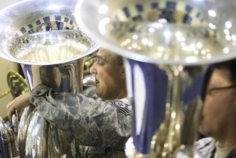 Technical Sergeant Matthew Kuebler during a rehearsal Monday.