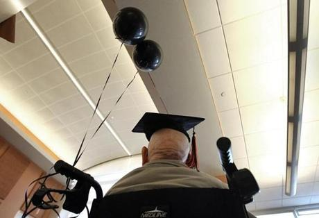 Fred Butler, age 106, received his long-delayed high school diploma. Beverly's oldest living resident, a World War II veteran who left school early to help his mother raise his five siblings, was honored at the high school.