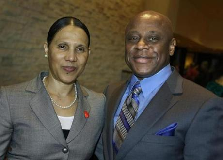 3-3-2013 Boston, Mass. Over 375 guests attended the 7th Annual Project Place Valaentine Brunch held at the InterContinental Hotel. L. to R. are Josefina Silva of Malden and Anthony McKenzie of Dorchester. Globe photo bill Brett