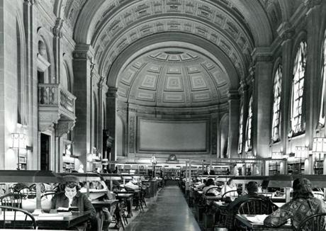 February 6, 1964: Impressive Bates Hall at the Boston Public Library is 218 feet long, 42 1/2 feet wide and 50 feet high to the crown of the barrel-arched ceiling. It is named for Joshua Bates, an early benefactor to the library who donated $50,000 for the purchase of books with the condition that