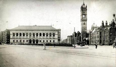 July 29, 1904: The Public Library in Copley Square was designed by architect Charles Follen McKim of the firm McKim, Mead and White. The cornerstone of the building was laid on November 28, 1888 and Dr. Oliver Wendell Holmes composed a dedicatory poem for the occasion.  The library, which cost $2.5 million dollars to build,  opened its doors for viewing  on February 1, 1895 and began circulating books for the public on March 11, 1895. A photo of Copley Square in 1904 shows the Old South Church tower on the right and the Boston Public Library in the middle.
