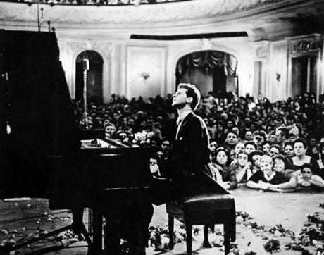 Van Cliburn performed to a packed audience in the Great Hall of the Moscow Conservatory in Moscow, Russia.