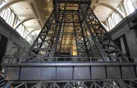 The store also has a 24-foot Eiffel Tower model.