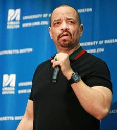Actor and rapper Ice-T spoke to a large crowd in the Campus Center Ballroom on the campus of UMASS Boston.