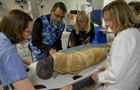 The mummy known as Padihershef was prepared to be loaded into a CT scanner at Massachusetts General Hospital.