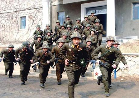 North Korean soldiers of the Korean People's Army (KPA) in military training.