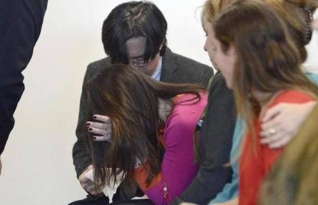 Nathaniel Fujita's mother, Beth Mattingly-Fujita, was consoled by her husband, Tomo Fujita, after the verdict.