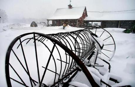 Snow covered Hanson Farm in Bridgewater.