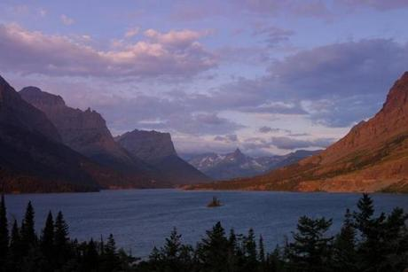 Going-to-the-Sun Road meanders up and over the divide between Lake McDonald and St. Mary Lake (pictured).