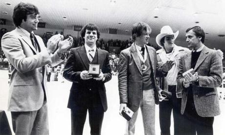 Parker coaches dozens of players who went on to success in the NHL and the Olympics, including four players ( Jim Craig, Mike Eruzione, Jack O'Callahan, Dave Silk, left to right, with Parker) who were on the 1980 gold medal-winning team.