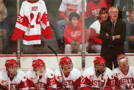 In 1995, Parker led the BU team through the on-ice paralysis of freshman Travis Roy. Parker hung Roy's jersey at each of the team's games that year.