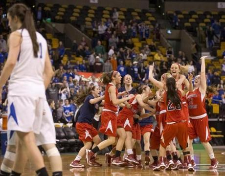 Central Catholic High players celebrated their narrow victory over Braintree High during the MIAA Division 1 State Semi-Final at TD Garden on March 11.