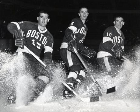 As a player at BU, Parker (center, with   John Cooke and Bill Riley Jr.) was on teams that finished fourth (1966) and second (1967) in the NCAA.