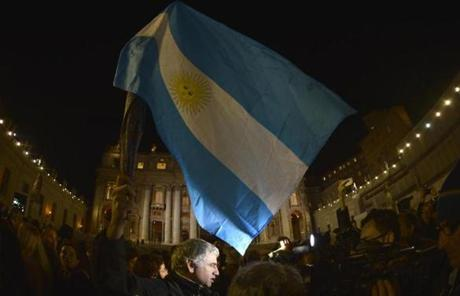 The flag of Argentina was waved at St Peter's Squar