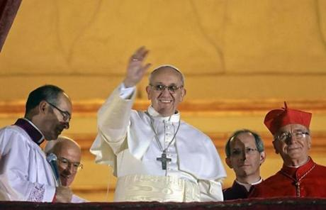 Jorge Bergoglio appeared on the balcony of St. Peter's Basilica after being elected pope.