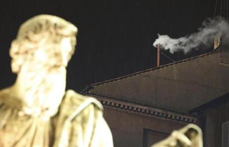 The white smoke signaled that a new pope had been selected.
