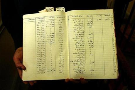 "A page from a ""Sijil Al-Qura Al-Muzala,"" or ""Register Of Eliminated Villages,"" a record from Saddam Hussein's regime."