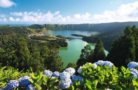 The side-by-side lakes, one green, one blue, called Sete Cidades are a must-see on the Azorean island of Sao Miguel.