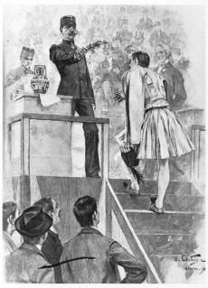 Greece's King George I presents Spiridon Loues with the victor laurels at the 1896 Olympics. Illustration -- Marathonhistory