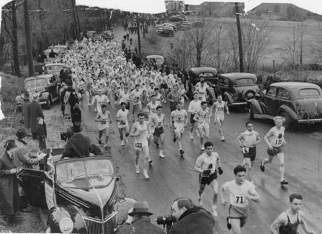 Boston Marathon. Globe File Photo. The field of runners in the 1939 Boston Marathon crosses the starting line. -- Marathonhistory  handout