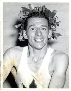 Sports/ Print scan. Boston Marathon, year by year for preview section. Story on evolution of the race. Boston Marathon winner. Gerard Cote 1943. Image for 4/16/10 Globe photo. -- Marathonhistory