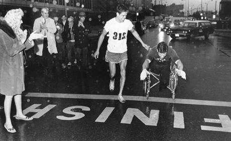 print scan for Boston Marathon Folder/ Gene Roberts 1970 1st wheelchair unofficial -- Marathonhistory