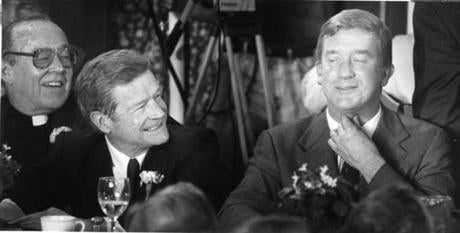 From left:  Father Tom McDonnell, Boston University President John Silber and Govenor William Weld in 1993.