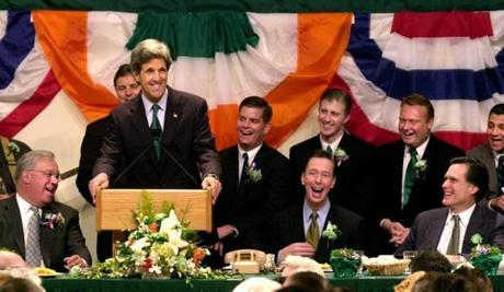 Boston, Ma--3/16/03 Globe Staff Photo/Michele McDonald Senator John F. Kerry unexpectedly showed up at the Saint Patrick's day roast Sunday morning and had the hall laughing. On his left is Mayor Thomas M. Menino.( Behind him left, State Sen. Jack Hart who sponsored the breakfast); seated to his right, U.S. Congressman Stephen F. Lynch and Gov. Mitt Romney. Behind them (according to the seating plan) from left to right starting closest to Kerry are Ma. Rep. Martin J. Walsh, Ma. Rep. Eugene L. O'Flaherty ,Ma. State Sen. Guy Glodis, and Ma. Rep David T. Donnelly. Library Tag 03172003 Page One