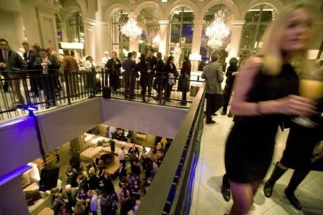 BEFORE THE CROWDS: Early guests at a party for the new RH store in the former site of the New England Museum of Natural History (the old Louis building) in Back Bay on March 6