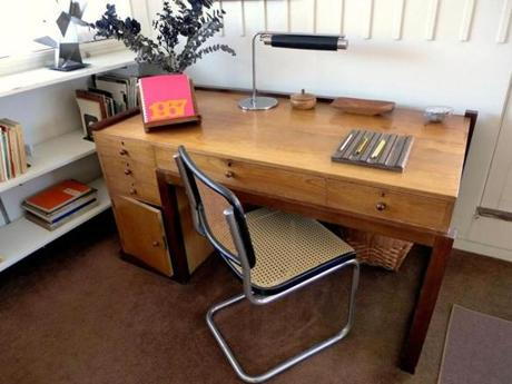 The desk used by daughter Ati was designed by Walter Gropius as his first desk as director of the Weimar Bauhaus in 1919.