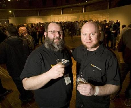 Jason and Todd Alstrom, founders of Beer Advocate. Friday, March 15, 2013 at the Extreme Beer Fest at the Cyclorama in Boston. Photo by Laurie Swope