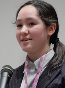 Winner Ina Beinborn had plenty to smile about after the citywide spelling bee at the Boston Public Library on Saturday.