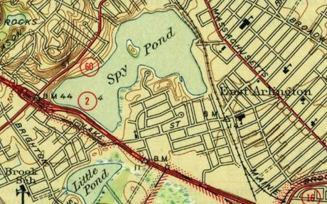A map depicting Spy Pond in Arlington.