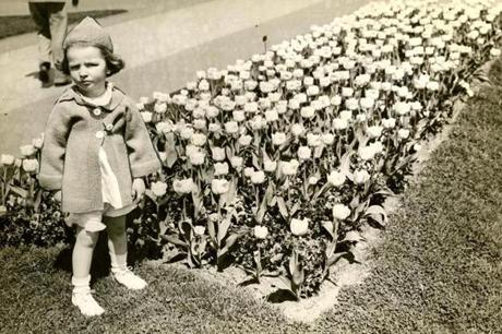 May 4, 1936: Ellen Colpoys McDonough poses by the tulip bed in the Public Garden.