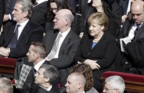 German Chancellor Angela Merkel attended the installation of the new pope.