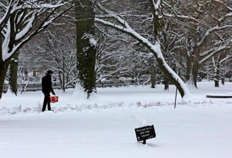 Another storm hit the Boston area just before spring was set to start.
