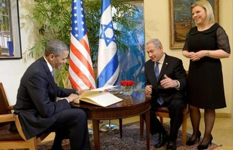 President Obama met with Benjamin Netanyahu and his wife, Sara Netanyahu, at the prime minister's residence.