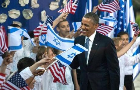 President Obama greeted children following a welcome ceremony in Jerusalem.