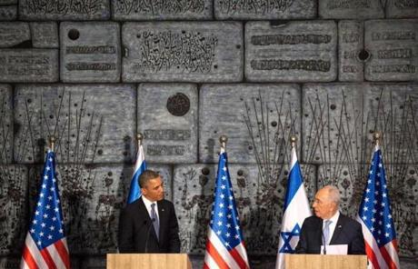 President Obama and Israeli President Shimon Peres spoke at a press conference.