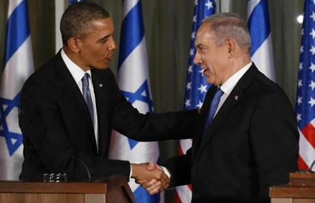 President Obama and Israel's Prime Minister Benjamin Netanyahu shook hands at a joint news conference at the Netanyahu's residence.