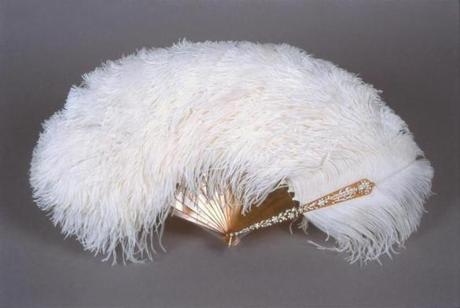 A fan of ostrich feathers, tortoise shell, silver and diamonds.